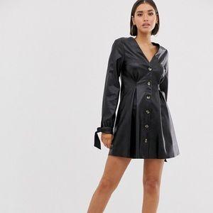 ASOS DESIGN Leather Mini Skater Dress  - Size 4